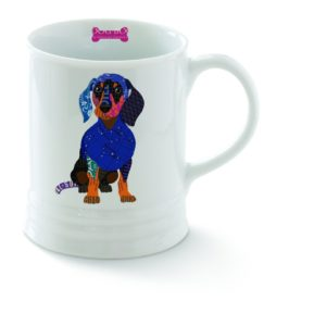 dacshund mug colorful with bone