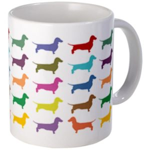 weiner dog patterned mug