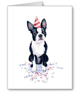Cute Boston Terrier birthday party watercolor print card