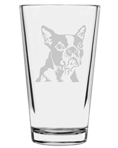 Dog drinking glass beer boston terrier