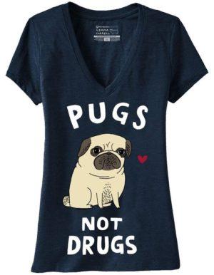 v-neck pug shirt funny