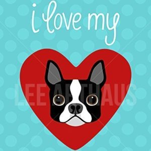 I heart boston terrier poster buy