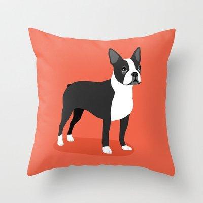 Orange boston Terrier decorative throw pillow