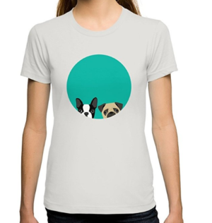 Boston Terrier Tshirt with pug dog fitted tee for women