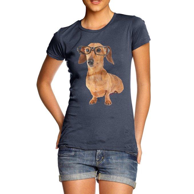 women's sausage dog glasses shirt