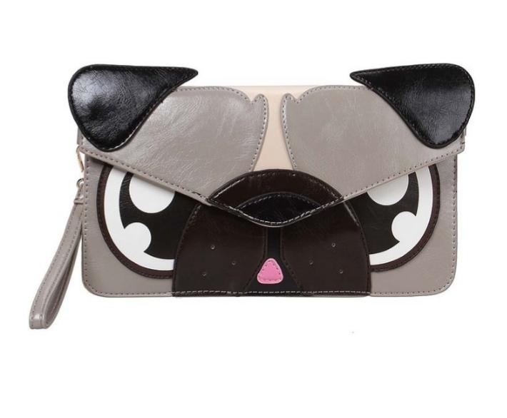 angry pug face handbag wristlet