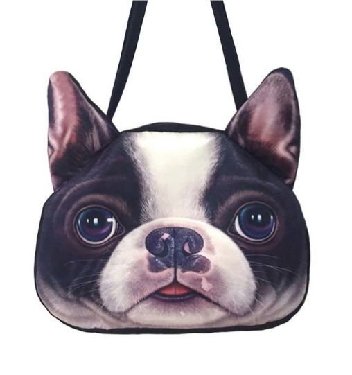 boston terrier realistic photo purse
