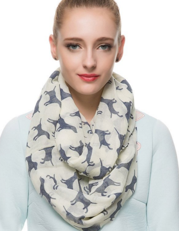 white dog scarf for women