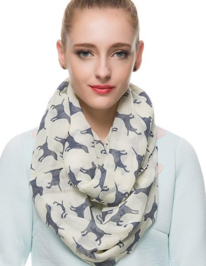 white dog scarf for women