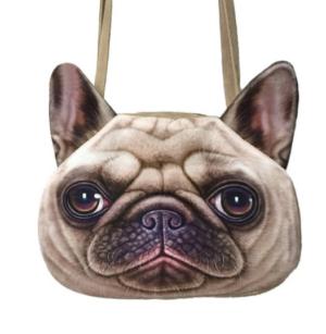 pug realistic face handbag