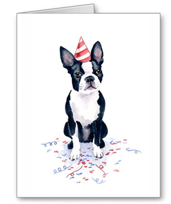Cute Boston Terrier birthday party watercolor print card
