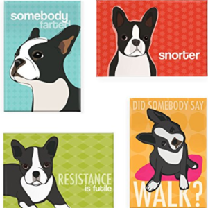 Fun refrigerator magnets of Boston Terriers
