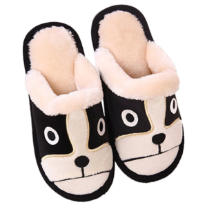 cute slippers with a Boston Terrier face