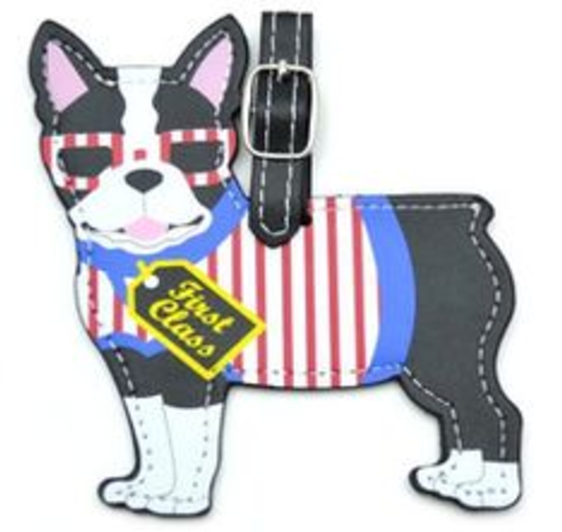 suitcase luggage tag boston terrier