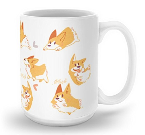 Cute mug with animated Corgi illustration art