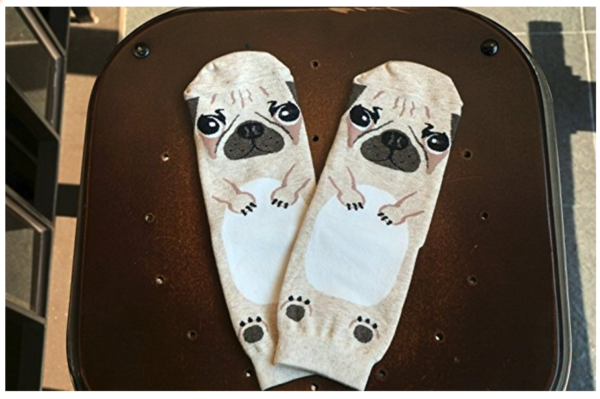 pug dog socks - face