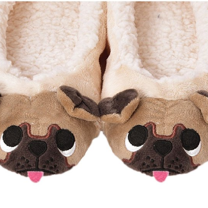 warm slippers with pug dog face - faux wool