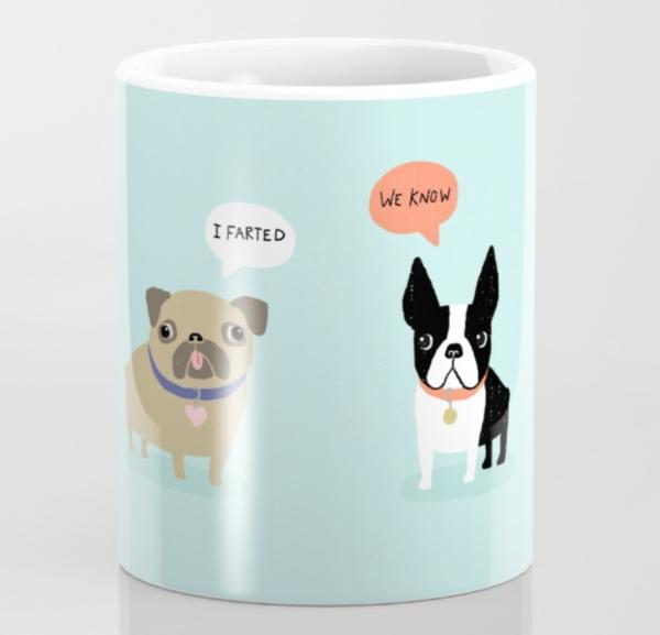 Dog poop funny fart mug
