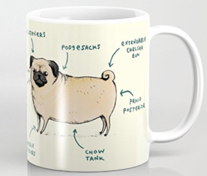 funny pug diagram on a mug