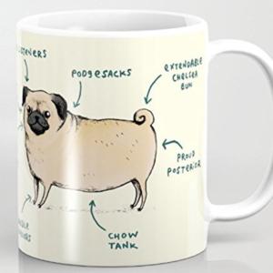 funny pug diagram on a mug