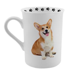 photo of corgi on a coffee mug paw prints on the rim top