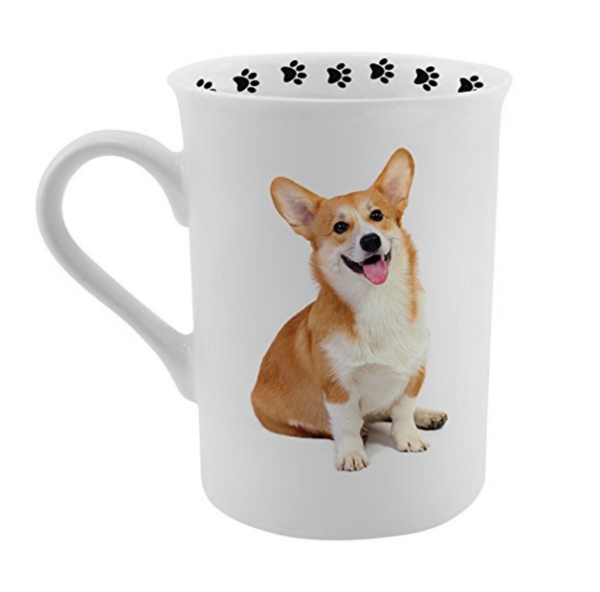 photo of corgi on a coffee mug paw prints on the rim top