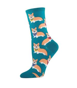 green corgi cartoon socks