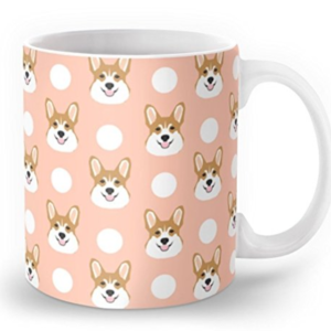 Peach color Corgi mug with polkadots