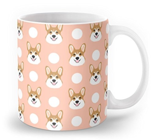 Peach color Corgi mug with polkadots