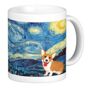 classic Van Gogh painting with a puppy in it starry night
