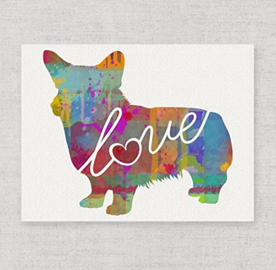 Corgi love art print