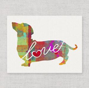 love dachshund heart love text frame print